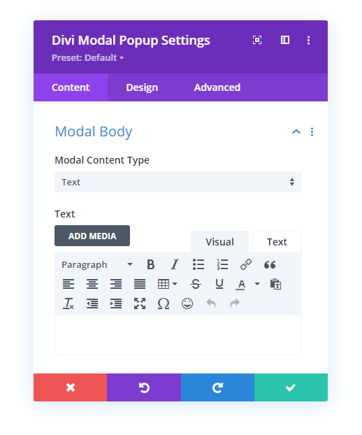 Text option in the Modal Body Content Type
