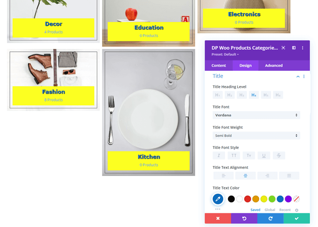 Text settings in Design tab of Woo Categories module