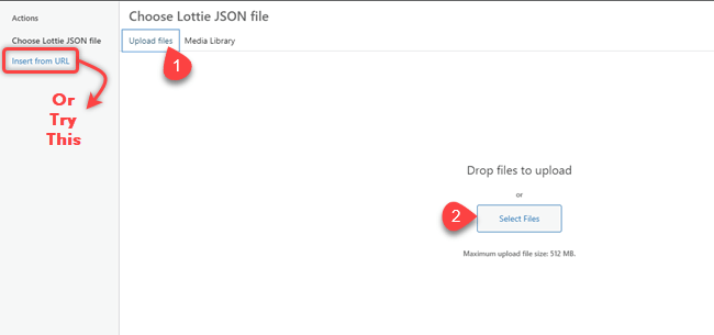 Uploading Lottie JSON file through WordPress media uploader