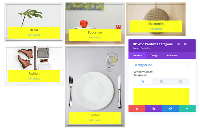 Woo Product Categories background customizations