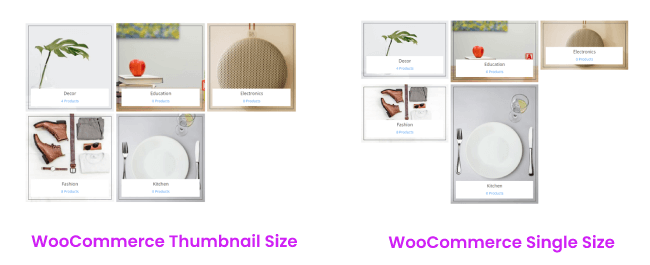 Woo Products Categories and their thumbnail size variations