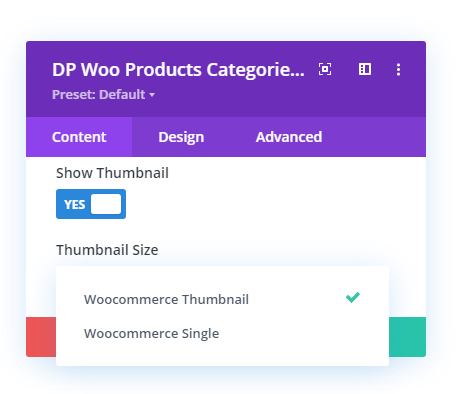 Woo Products Categories thumbnail size option