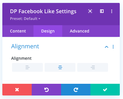 Divi Facebook Like button alignment option