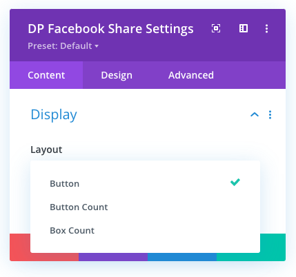 Divi Facebook Share button layouts