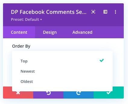 Divi Facebook comments order by option