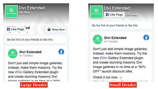 Divi Facebook page with small and large header