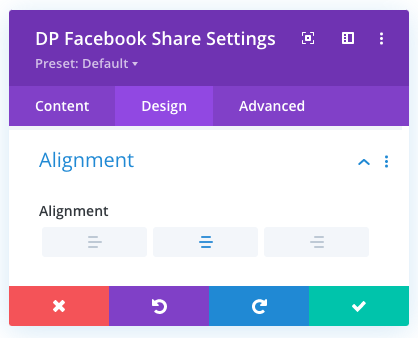 Divi Facebook share button alignment options