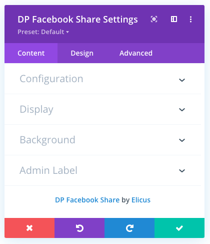 Divi Facebook share button module with content tab settings