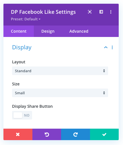 Divi Facebook Like button Display settings
