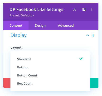 Divi Facebook Like button layout options