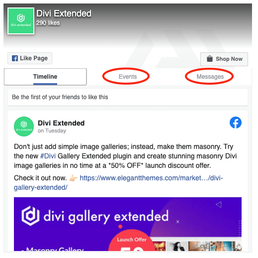 Facebook page for Divi with events and messages option