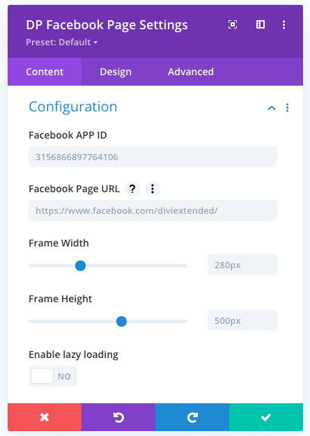 Facebook page module configuration settings