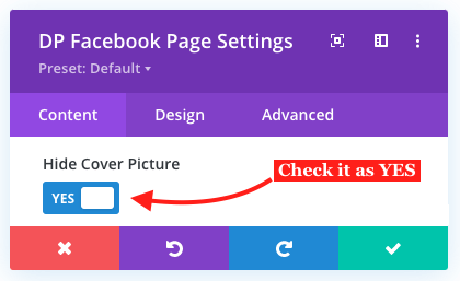 Hide Facebook page cover picture in Divi
