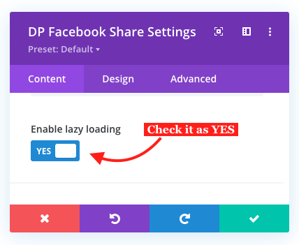 Divi Facebook Share button lazy loading