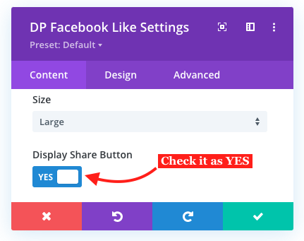 Share button with Divi Facebook Like button