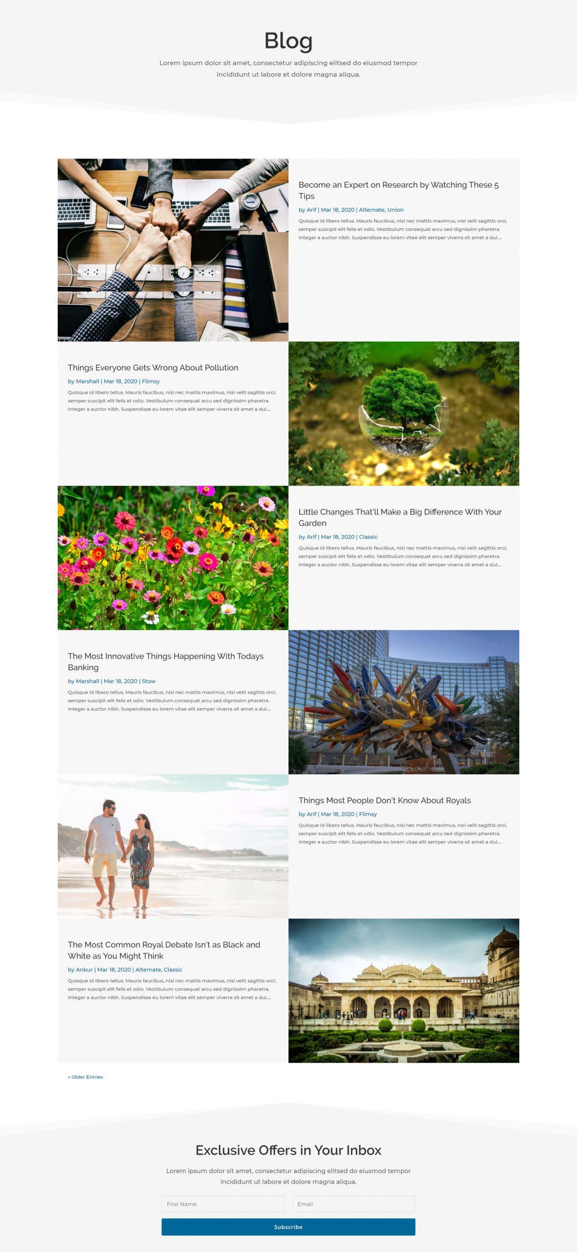 Divi alternate blog layout