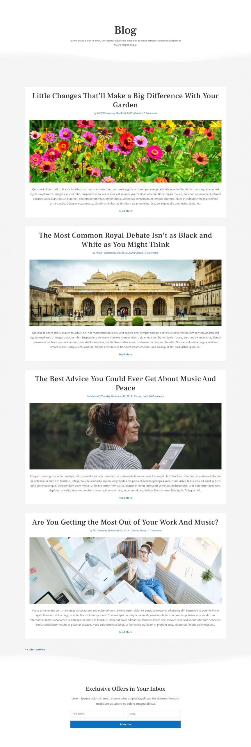 Divi classic blog layout