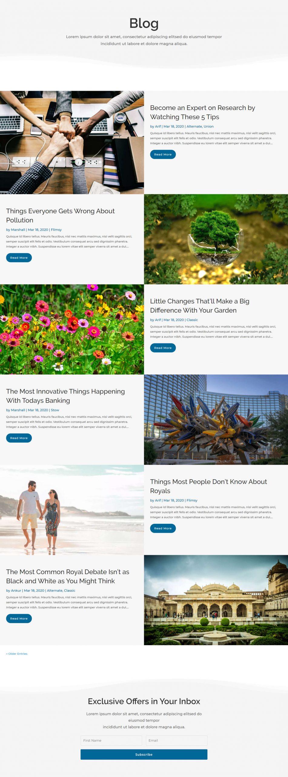Divi edge blog layout