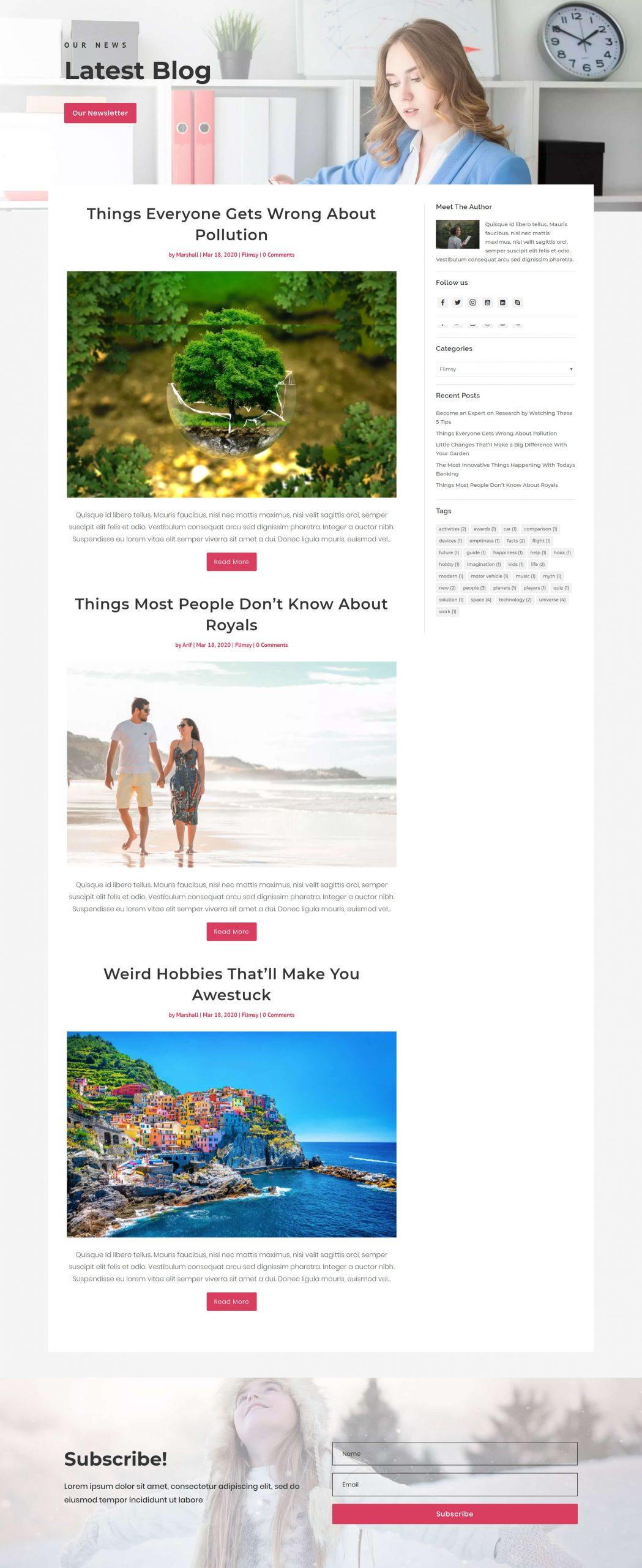 Flimsy blog layout