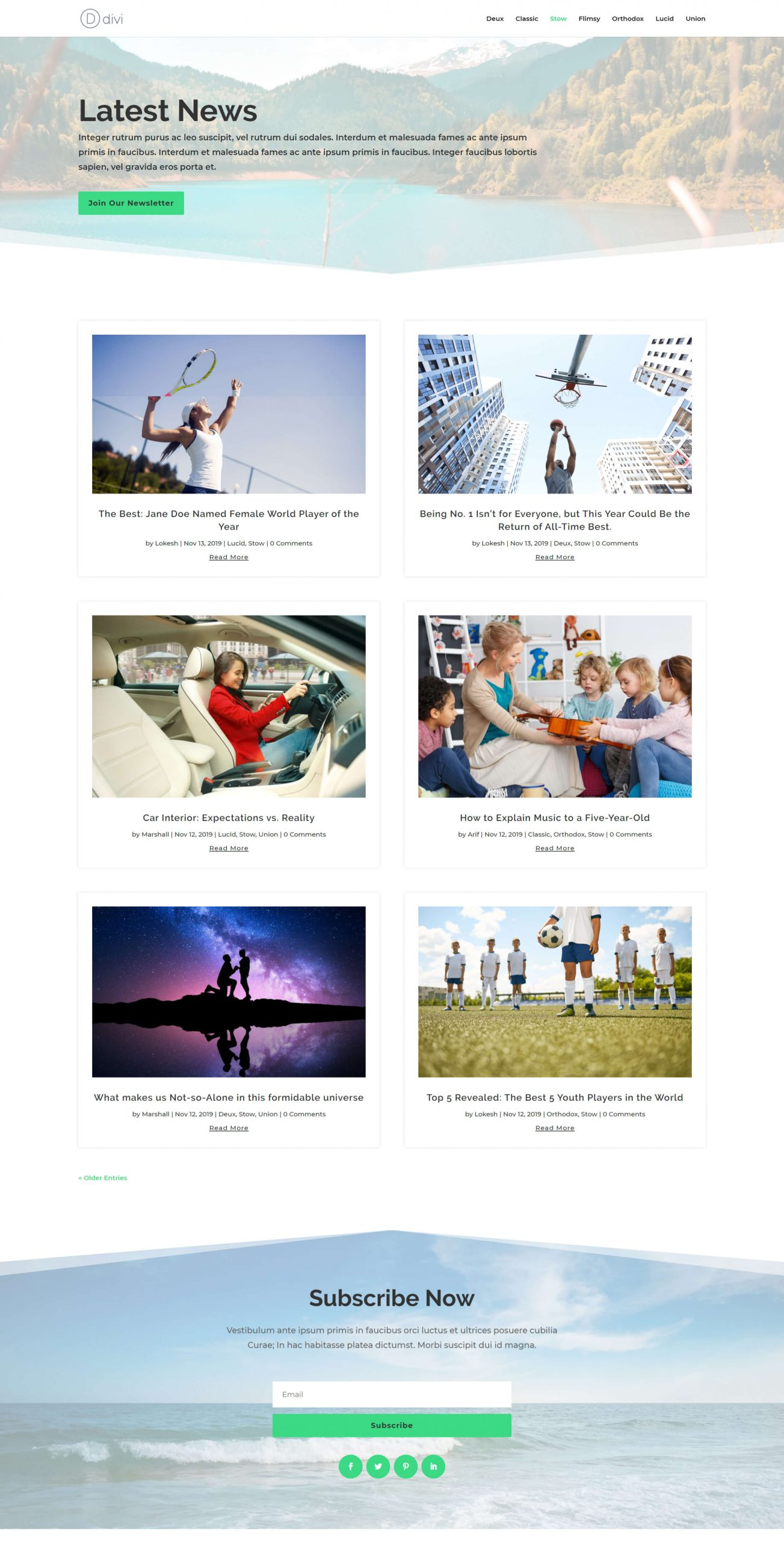 Divi theme blog page layout