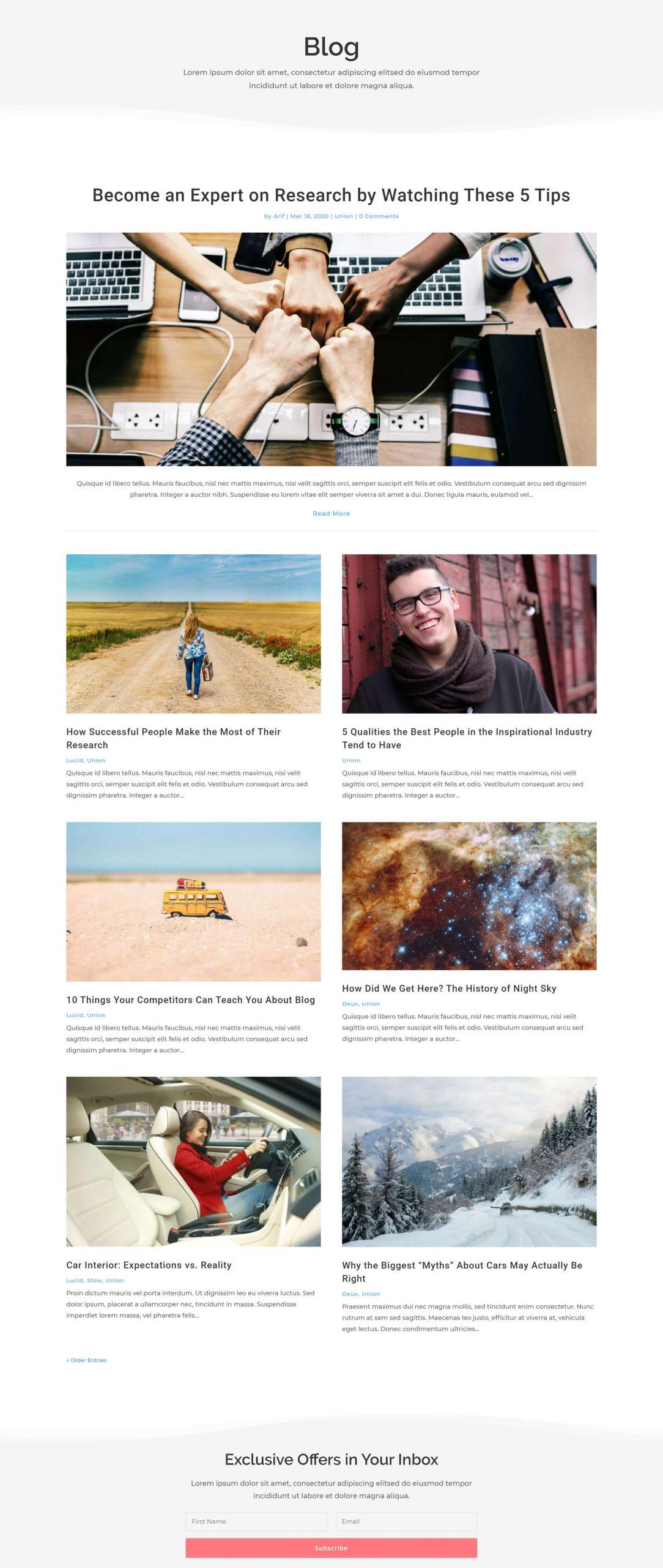 Union blog layout