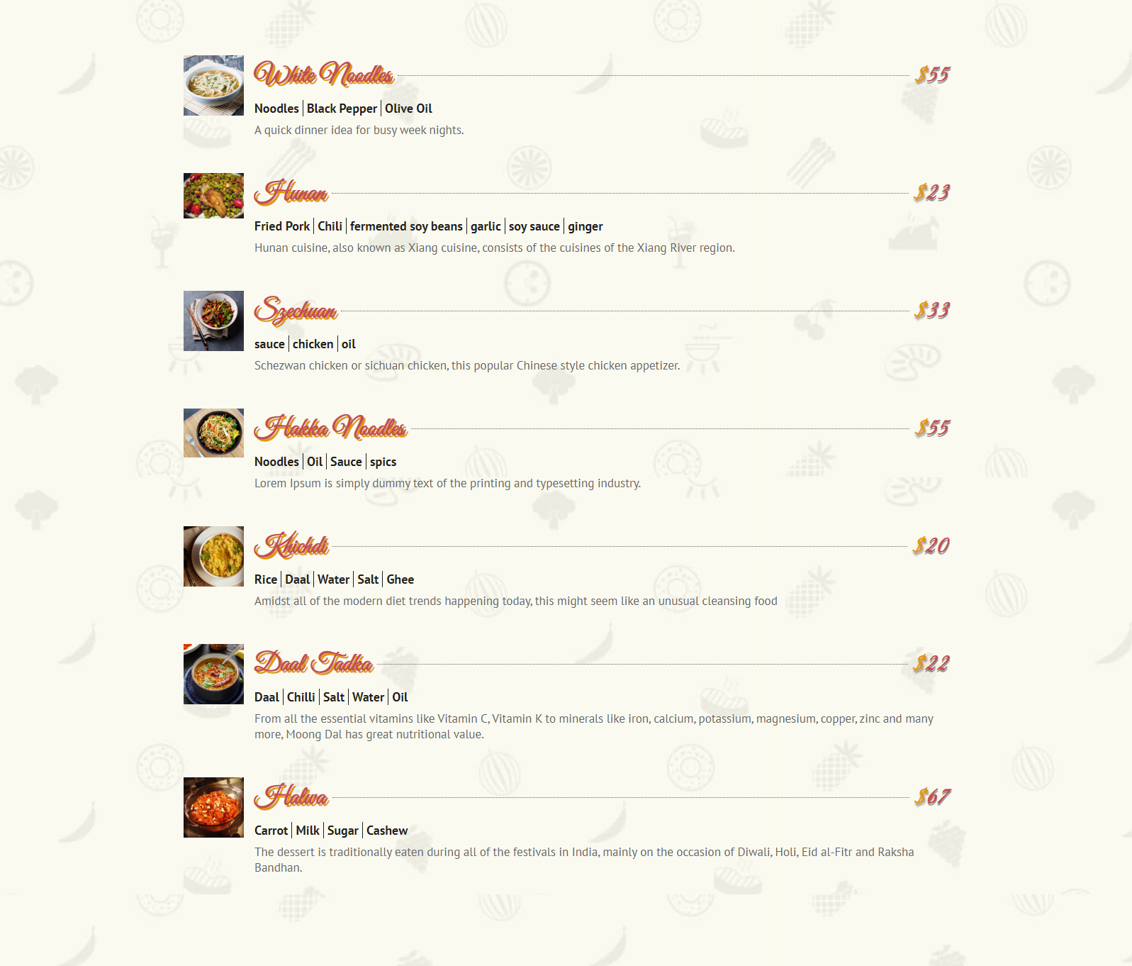 Divi restaurant menu layout example