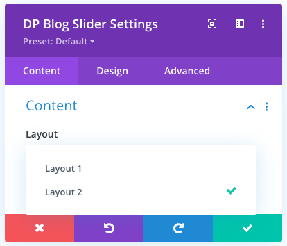 Layouts available in the Blog Slider module