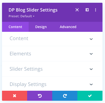 Settings in the Content tab of the blog slider module